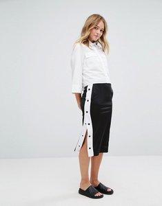 Read more about Monki side popper midi skirt - black