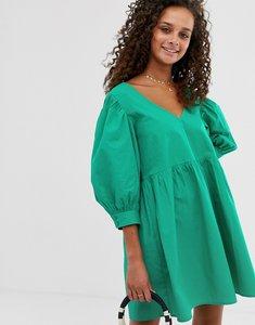 Read more about Asos design v front v back smock mini dress in cotton