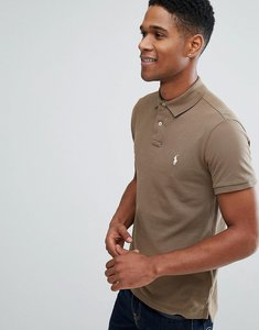 Read more about Polo ralph lauren pique polo slim fit in brown - partridge