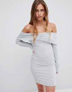 Read more about Prettylittlething bardot ribbed mini dress - grey