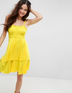 Read more about Asos shirred mini sundress with tiered skirt - yellow