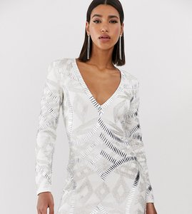 Read more about Starlet allover embellished plunge front mini dress in white