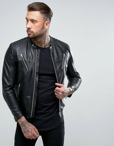 Read more about Replay leather biker jacket - black