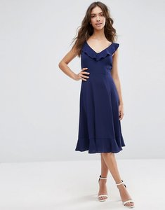 Read more about Asos midi skater dress with frill detail - navy