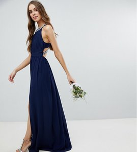 Read more about Tfnc tall embellished back detail maxi bridesmaid dress - navy