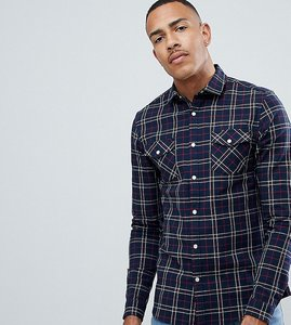 Read more about Asos design tall stretch slim check western shirt in navy red - black