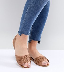 Read more about Asos design juna wide fit leather summer shoes - tan