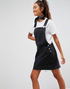 Read more about Asos design denim dungaree dress in washed black - washed black