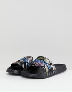 Read more about Asos sliders in floral satin with embroidery - black