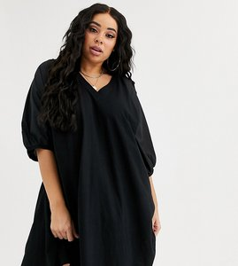 Read more about Asos design curve v neck mini t-shirt dress with woven sleeves
