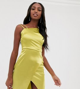 Read more about Outrageous fortune tall satin asymmetric shoulder dress in lime
