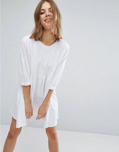 Read more about Asos cotton smock dress with elastic cuff detail - white