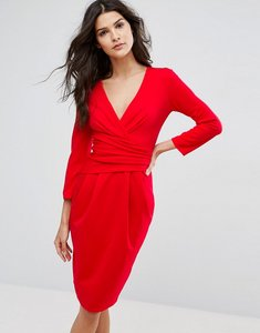 Read more about City goddess 3 4 sleeve pleat detail midi dress - red 20