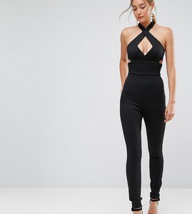 Read more about Asos tall jumpsuit with cross front in bandage - black