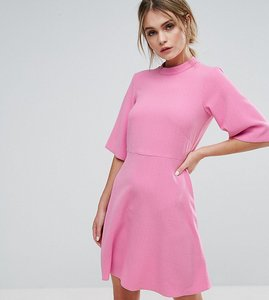 Read more about Closet london swing dress with high neck - candy pink