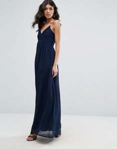 Read more about Club l v neck pleated chiffon maxi dress - navy