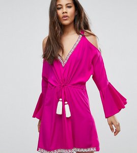 Read more about White cove tall embellished cold shoulder dress with peplum hem detail - hot pink