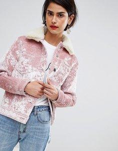 Read more about Asos design velvet pocket detail jacket - pink