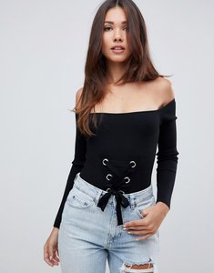 Read more about Missguided lace up bardot knitted bodysuit - black