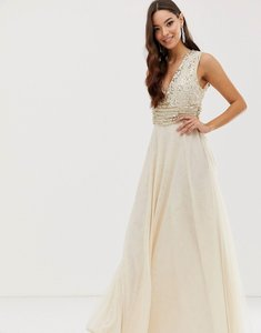 Read more about Asos design maxi dress with pearl and sequin embellished drape bodice