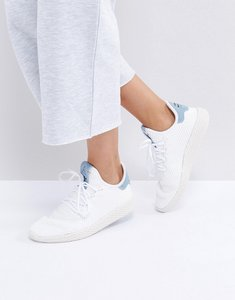 Read more about Adidas originals x pharrell williams tennis hu trainers in white and blue - white