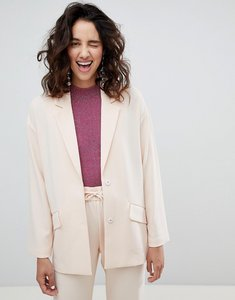 Read more about Monki tailored popper detail blazer - pink