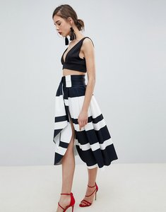 Read more about Asos design scuba wrap prom skirt with split and tie waist in stripe - black white