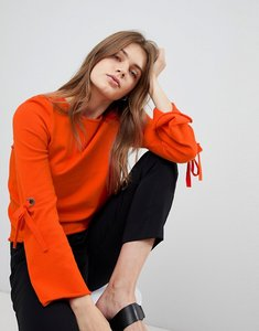 Read more about Esprit flared sleeve knitted jumper - orange