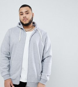 Read more about Badrhino big zip through hoodie with pocket logo in grey - grey marl