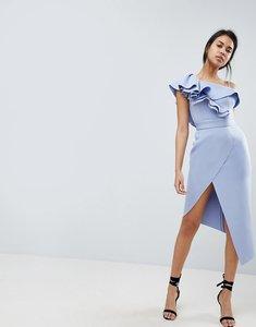 Read more about Asos premium ruffle one shoulder scuba midi dress - pale blue