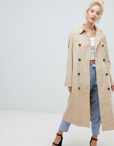 Read more about Fashion union belted mac jacket with storm flaps and contrast lining - beige