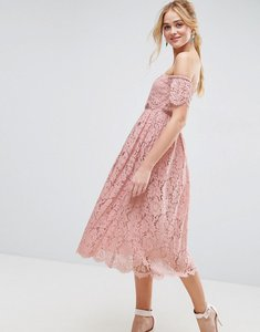 Read more about Asos off the shoulder lace prom midi dress - mink