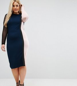 Read more about Asos curve colourblock midi dress with mesh sleeve - multi