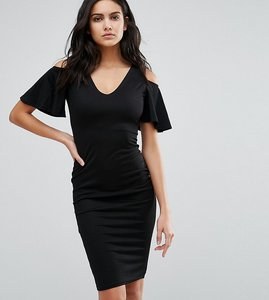 Read more about Club l midi dress with cold shoulder frill detail - black