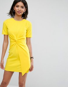 Read more about Asos mini skater dress with twist front - yellow