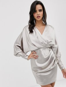 Read more about Asos edition drape wrap mini dress in satin