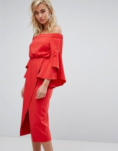 Read more about Lavish alice off the shoulder midi dress with bell frill sleeves - red