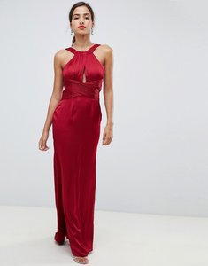 Read more about Little mistress satin maxi dress with keyhole and gathered detail