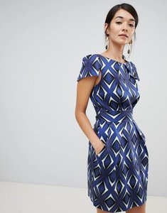 Read more about Closet london cap sleeve pencil dress in mirrored print - multi