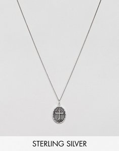 Read more about Asos design sterling silver necklace with embossed cross pendant
