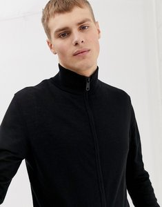 Read more about Asos design knitted muscle fit track jacket in black - black