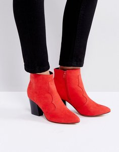 Read more about London rebel mid heel boot - 225 red micro