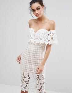 Read more about Love triangle off shoulder midi dress in premium lace - cream