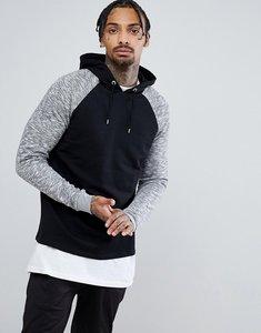 Read more about Asos hoodie with contrast raglan sleeve in black - black