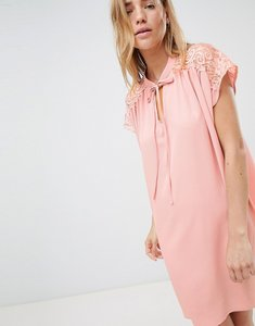 Read more about Qed london shift dress with lace insert - pink