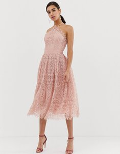 Read more about Asos design lace midi dress with pinny bodice