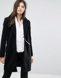 Read more about Missguided chain detail faux wool coat black - black
