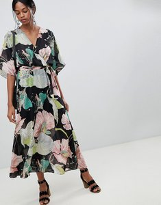 Read more about Liquorish floral kimono sleeve maxi dress with open back - multi