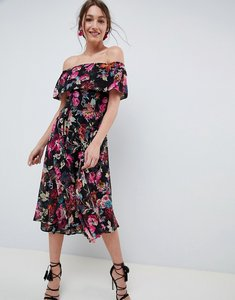 Read more about Asos design bardot midi dress in dark based floral - dark floral