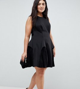 Read more about Asos curve scuba lace godet mini dress - black